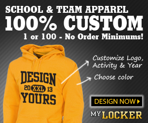 School and Team Apparel 100% custom 1 or 100 - No order minimums! Customize Logo, Activity and Year. Choose Color. Design Now. My Locker